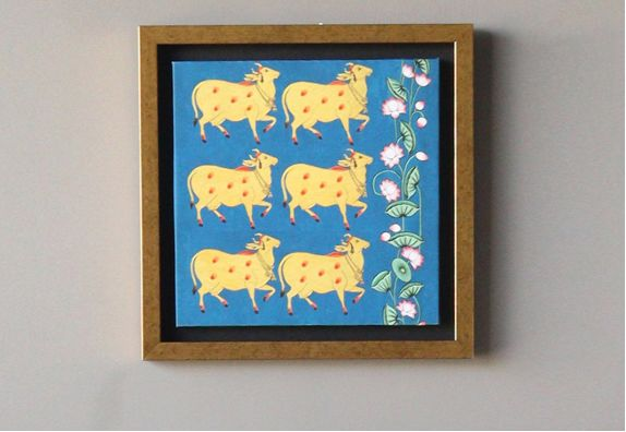 Pichwai Cow Art Print Framed Wall Painting - 15 x 15 inches