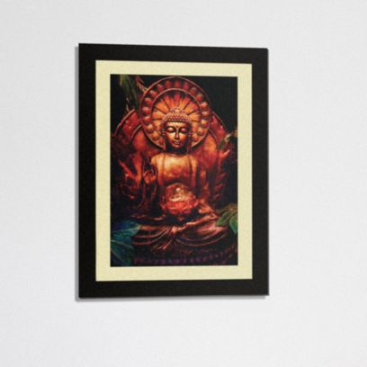 Premium Traditional with Mount Synthetic Wood Framed Painting