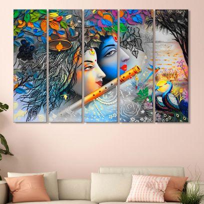 Radha Krishna Colourful MDF Wall Art Panel - Set of 5