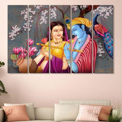 Radha Krishna MDF Printed Wall Art Panel - Set of 5