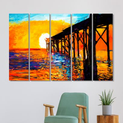 Sunset and Bridge MDF Art Panels - Set of 5 Frames