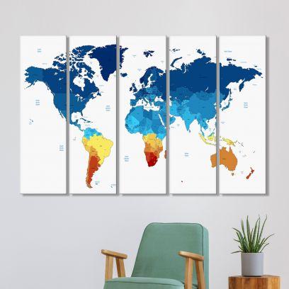 World Map MDF Art Panels - Set of 5 Frames