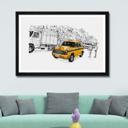 Yellow Colour Jeep Canvas Painting