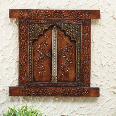 Brown Print Wooden Jharokha