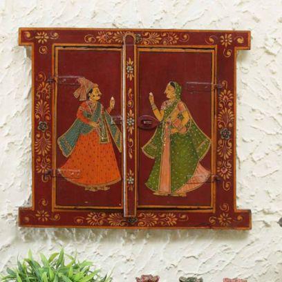 Raja Rani Print Wooden Jharokha
