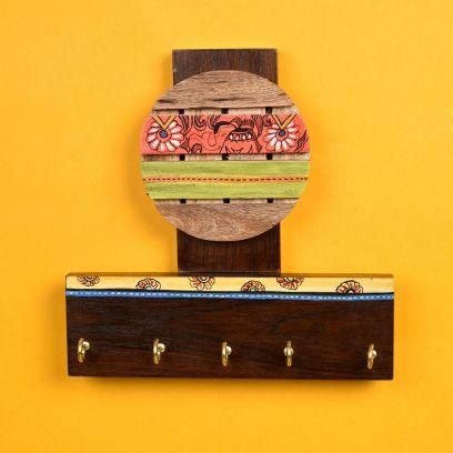 Madhubani Handcrafted Art Key Holder - 5 Keys