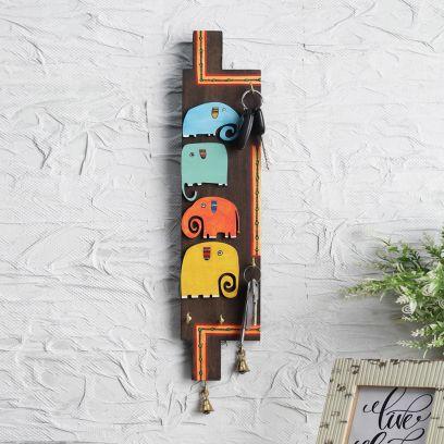 Multicolored Elephant Mango Wood Key Holder