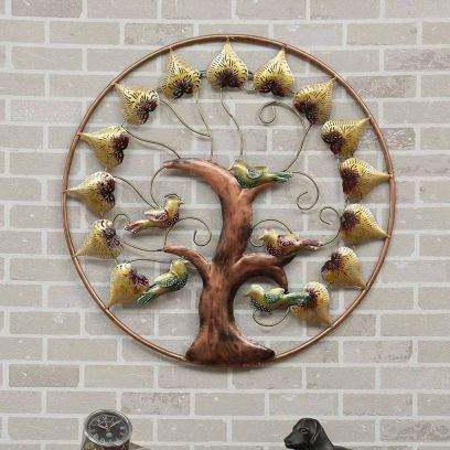 Multicolour Round Bird Tree Led Wall Decor
