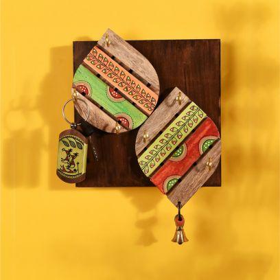 Multicolour Tribal Art Leaf Design Handcrafted Key Holder - 6 Keys