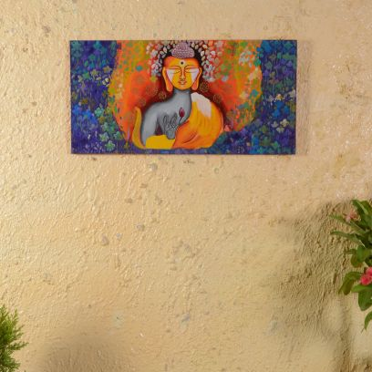 Multicolor Lord Buddha Painted Wall Panel