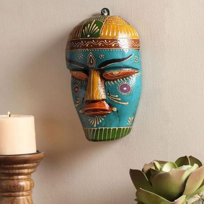 Decorative Multicolour Wooden Wall Mask