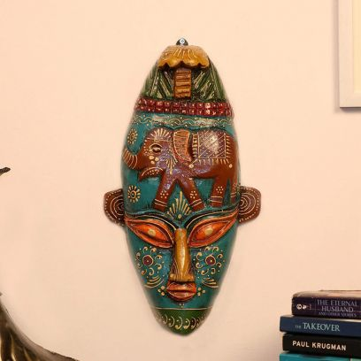Multicolour Decorative Wooden Wall Mask