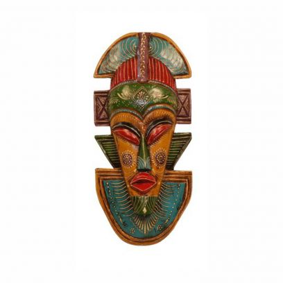 Wooden Wall Mask In Yellow