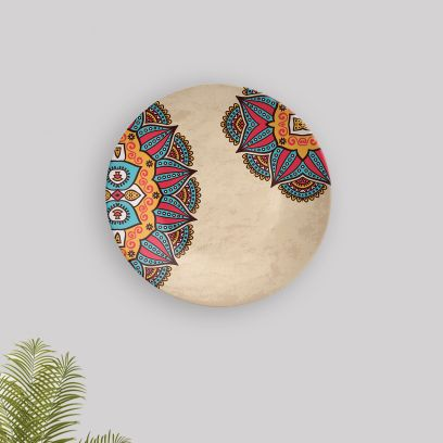 Beige Mandala Art Decorative Wall Plate