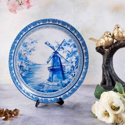 Blue Ceramic Pottery Inspired Home Decor Decorative Plate - 10 inch