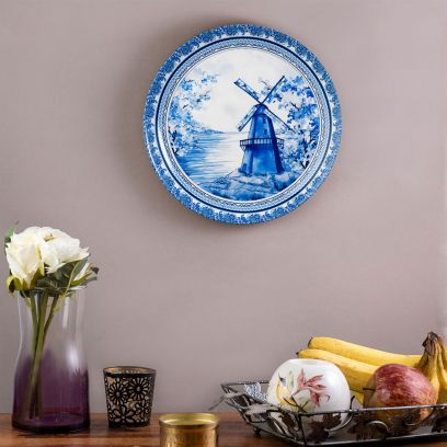 Blue Ceramic Pottery Inspired Home Decor Wall Plate - 10 inch