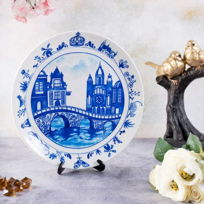 Blue Pottery Inspired Home Decor Decorative Plate - 8 inch