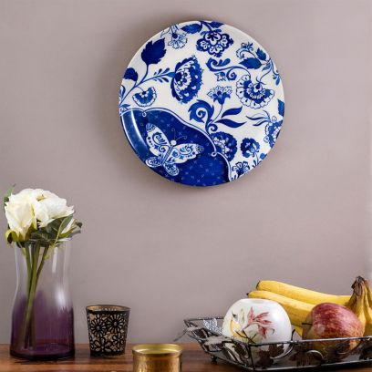 Blue Pottery Inspired Wall Plate - 8 inch