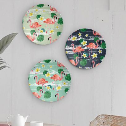Dance of Flamingoes Decorative Wall Plates - Set of 3