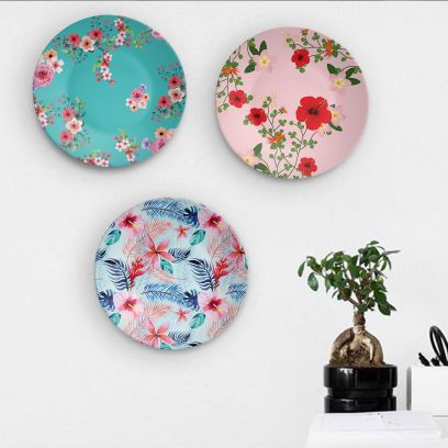Rich Floral Beauty of Indian Decorative Wall Plates- Set of 3