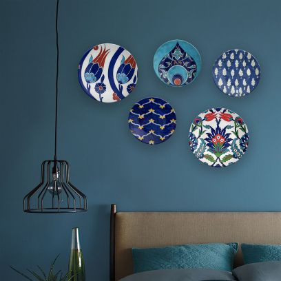Turkey World of Cobalt Decorative Wall Plates - Set of 5