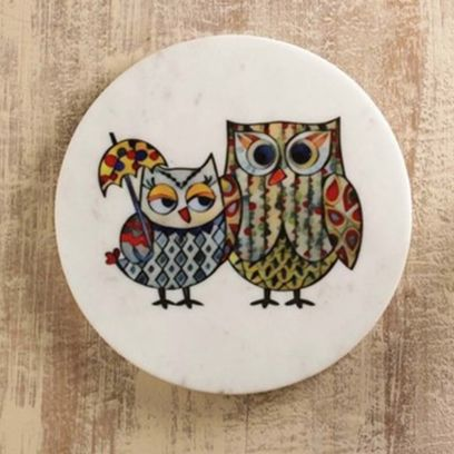 White Owlsome Marble Wall Plates