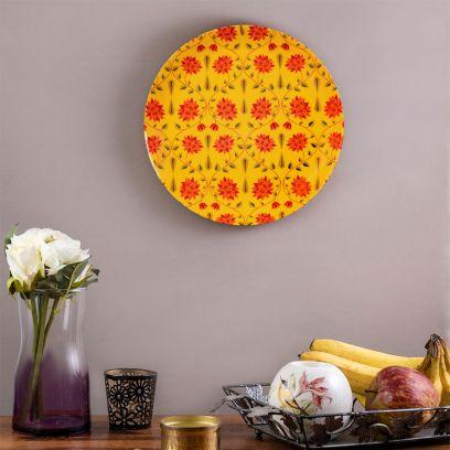 Yellow Ceramic Babur Inspired Wall Plate - 8 inch