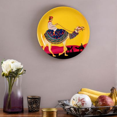 Yellow Princely Camel Inspired Wall Plate - 8 inch