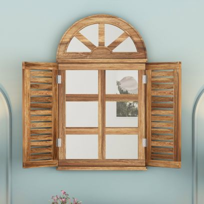Pinot Wooden Window Frame With Mirror (Natural Finish)