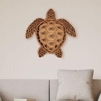Brown Mesmerizing Turtle Wooden Wall Art
