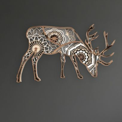 Brown Spotted Deer Wooden Wall Art