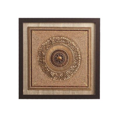 Gold Beads on Raw Silk Exquisite Framed Wall Art - 11 x 0.5 x 11 Inch