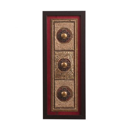 Maroon Beads on Raw Silk Exquisite Framed Wall Art - 6.5 x 0.5 x 15.5 Inch