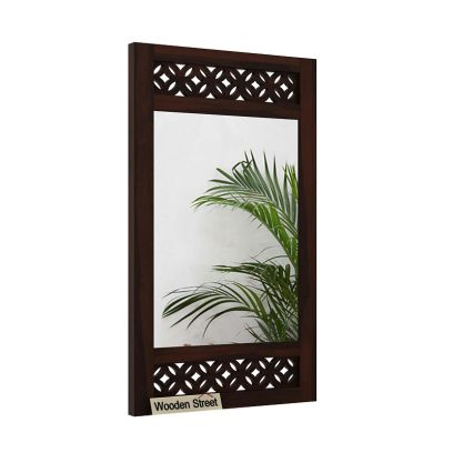 Cambrey Side Stripped Mirror With Frame (Walnut Finish)