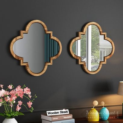 Fleur Decor Set Of 2 Mirror with Frame (natural Finish)