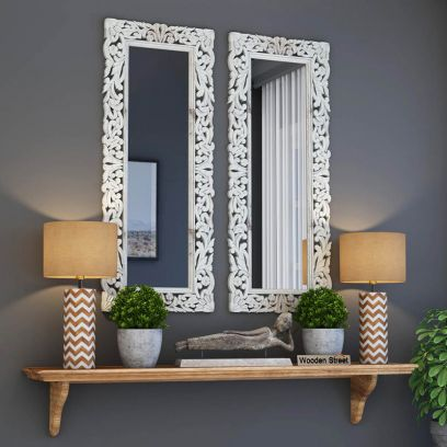 Meadow Mirror With Frame (White Distress)