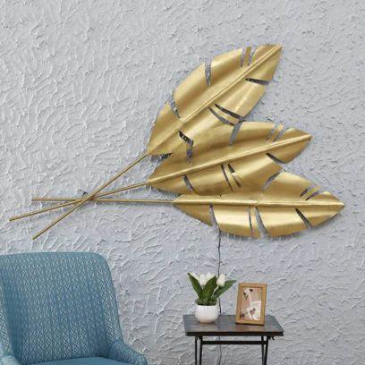Golden Colour Banana Leaf Wall Decor