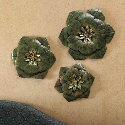 Green Colour Flower Wall Decor-Set of 3