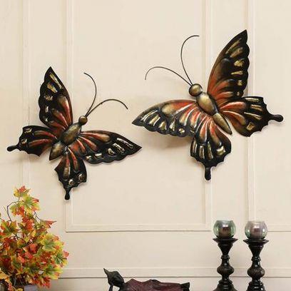 Multicolor Butterflies Wall Art - Set of 2