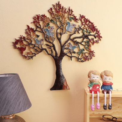 Multicolour Metal Birds On Tree Wall Art