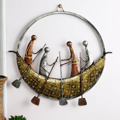 Multicolour Round Boat Wall Art Hanging