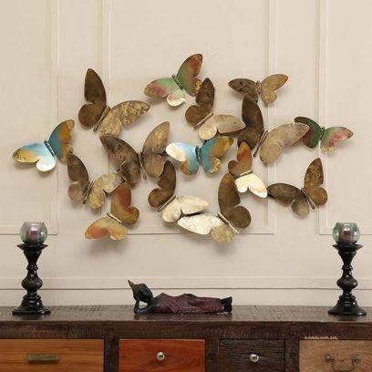 Swarm of Blue Butterflies Metal Wall Art