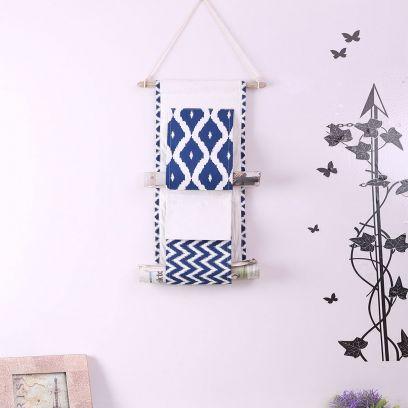 Blue and White Multipurpose 2 Pocket Wall Hanging Organizer