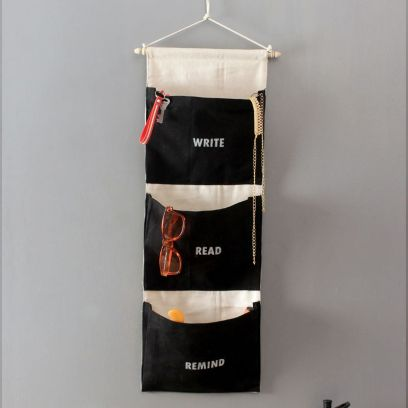 Multipurpose 3 Pocket Black and White Wall Hanging Organizer