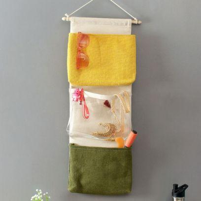 Multipurpose 3 Pocket Multi Color Jute Wall Hanging Organizer
