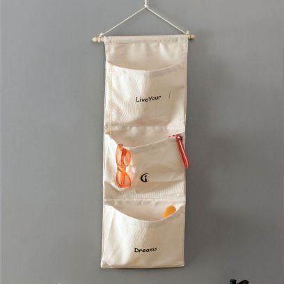 Multipurpose 3 Pocket White Wall Hanging Organizer