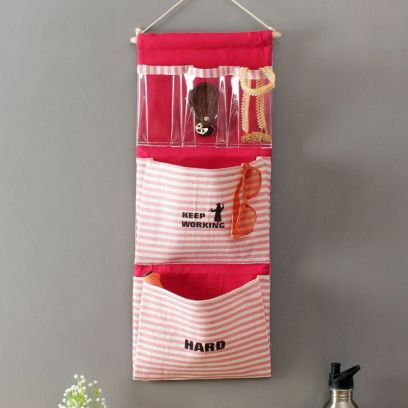 Multipurpose 5 Pocket Pink Wall Hanging Organizer