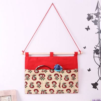 Red and Cream Multipurpose 3 Pocket Wall Hanging Organizer