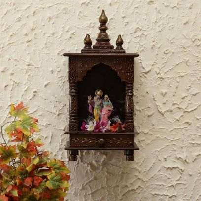 Wooden Wall Mounted Small Mandir in Brown