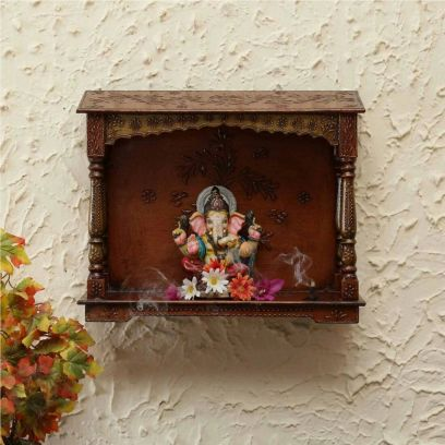 Wooden Wall Mounted Square Shape Mandir in Brown